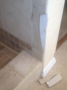 My head — harder than tile.  (And yes, that's my hair embedded in the grout to the left of the break.)