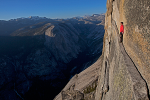 Honnold on Thank God Ledge