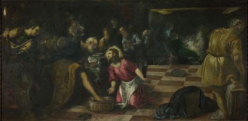 Tintoretto, Jacopo - Christ washing the Feet of the Disciples - National Gallery London